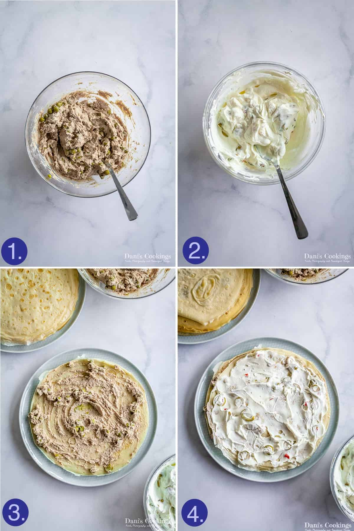 steps to make the mixtures and layer the cake