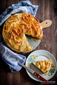 Spinach and Leeks Filo Pie - a slice cut off