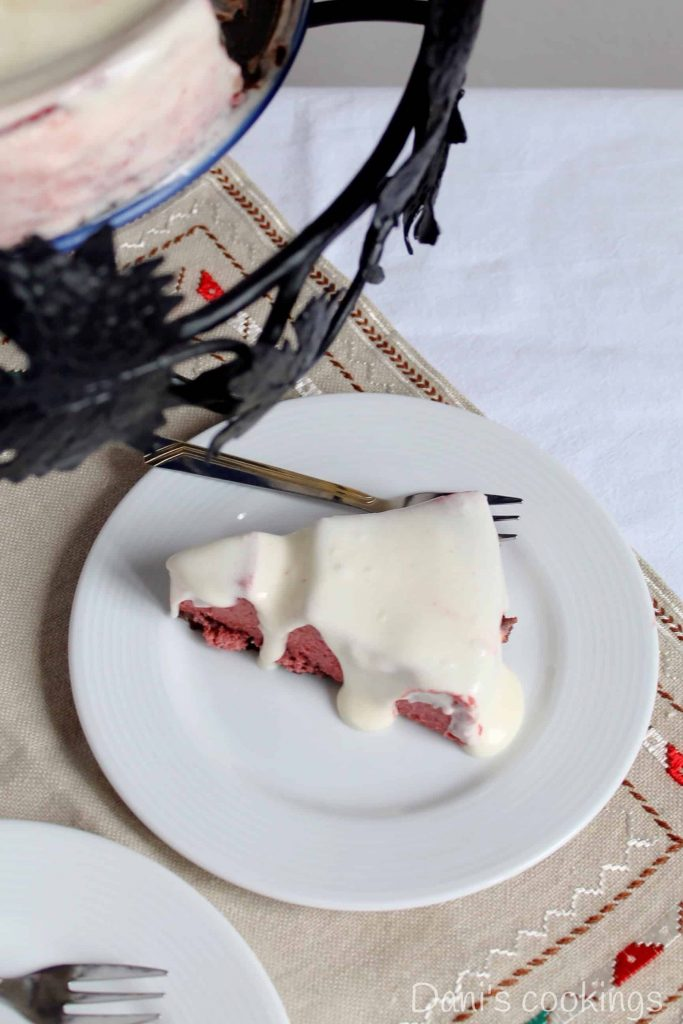Pink Velvet Cheesecake served on a plate