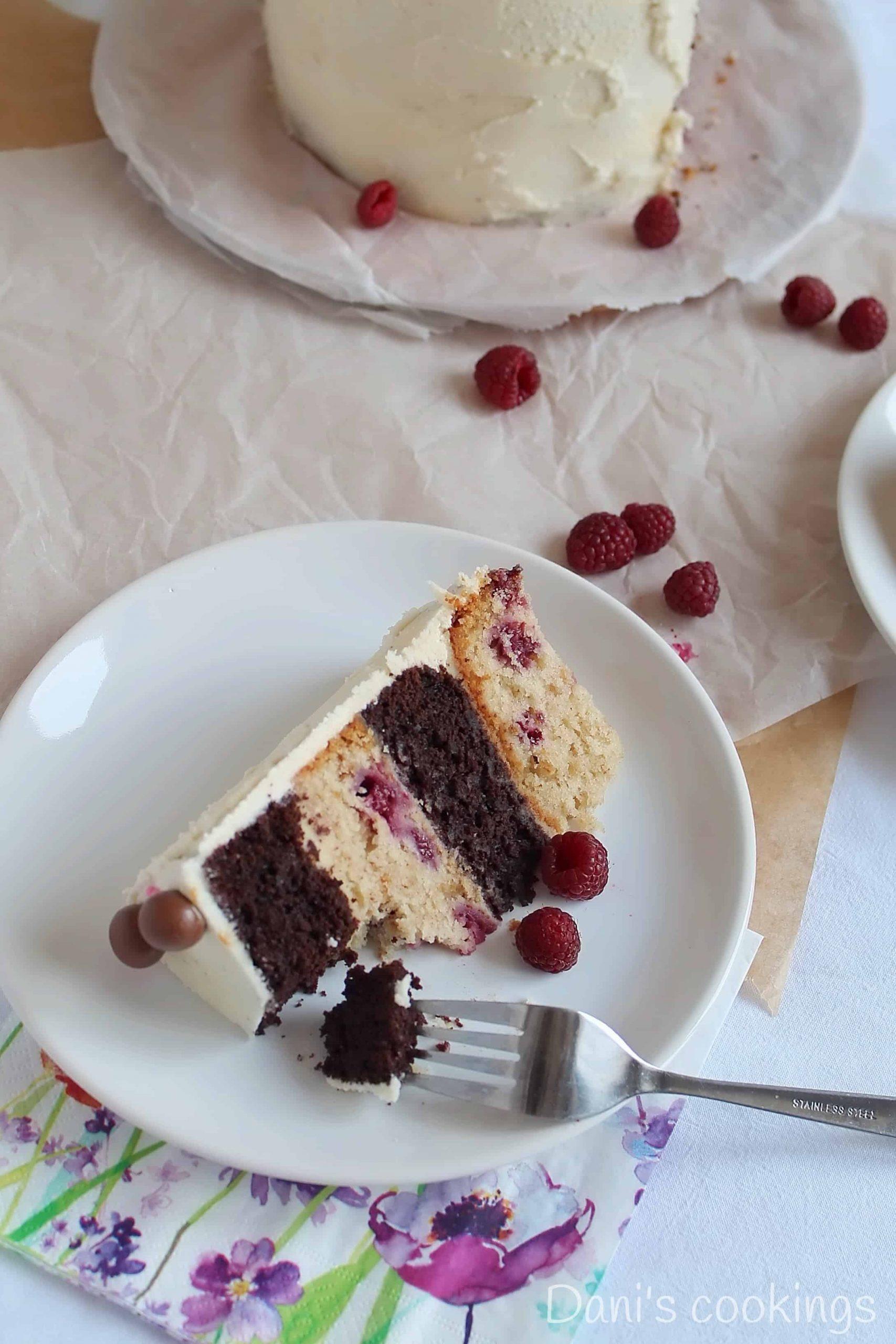 a slice of cake being eaten