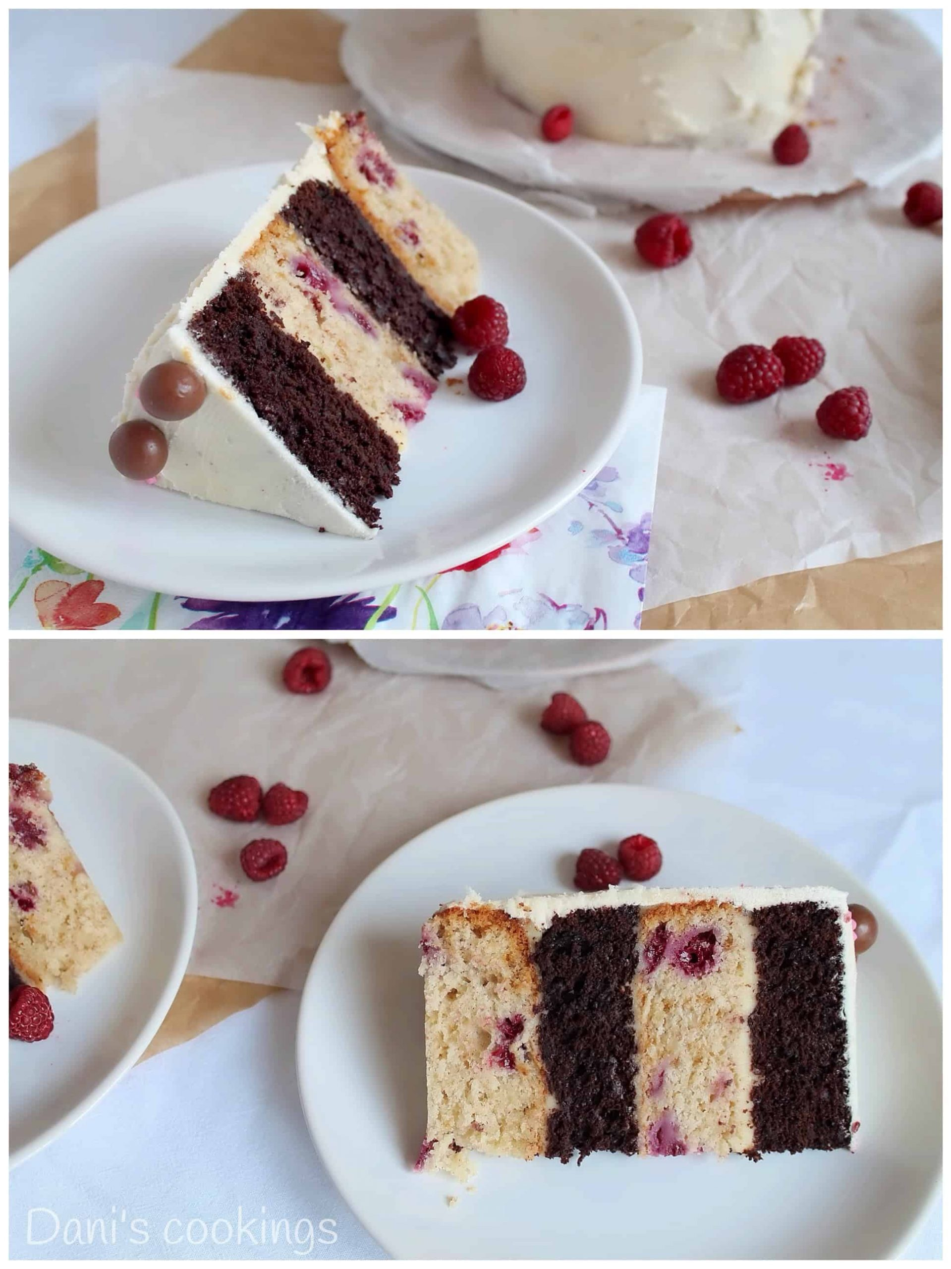 two images of cake layers on plates