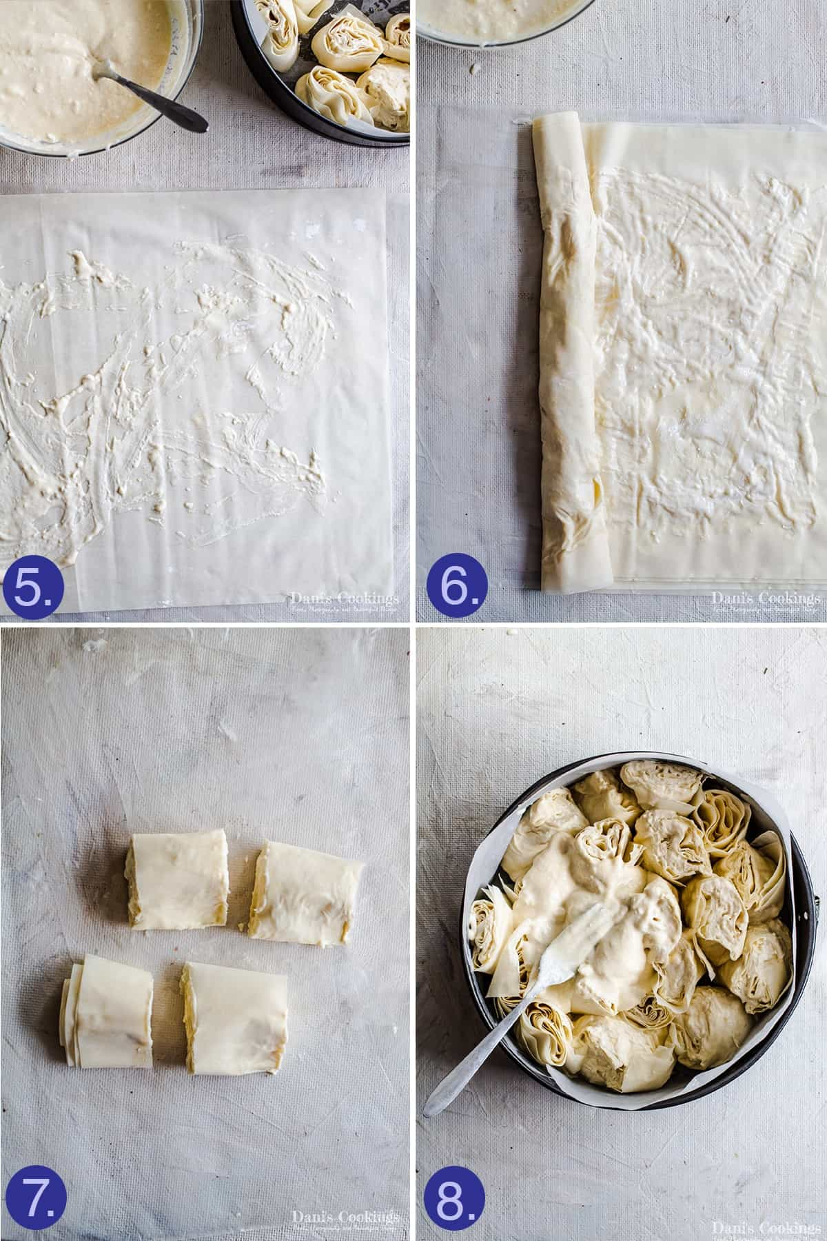 steps to shape the sesame filo pie