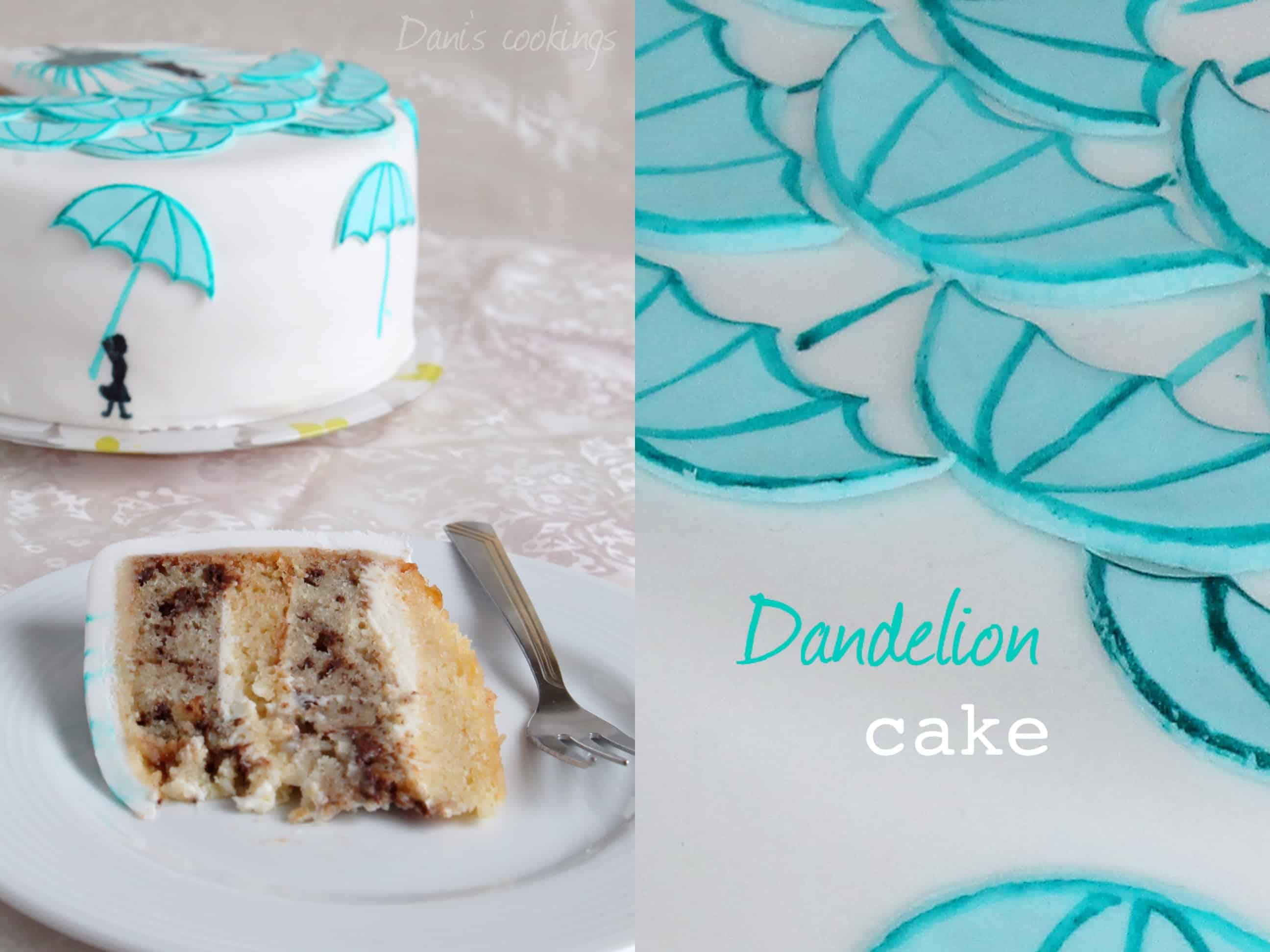 dandelion cake with white and black chocolate - daniscookings.wordpress.com
