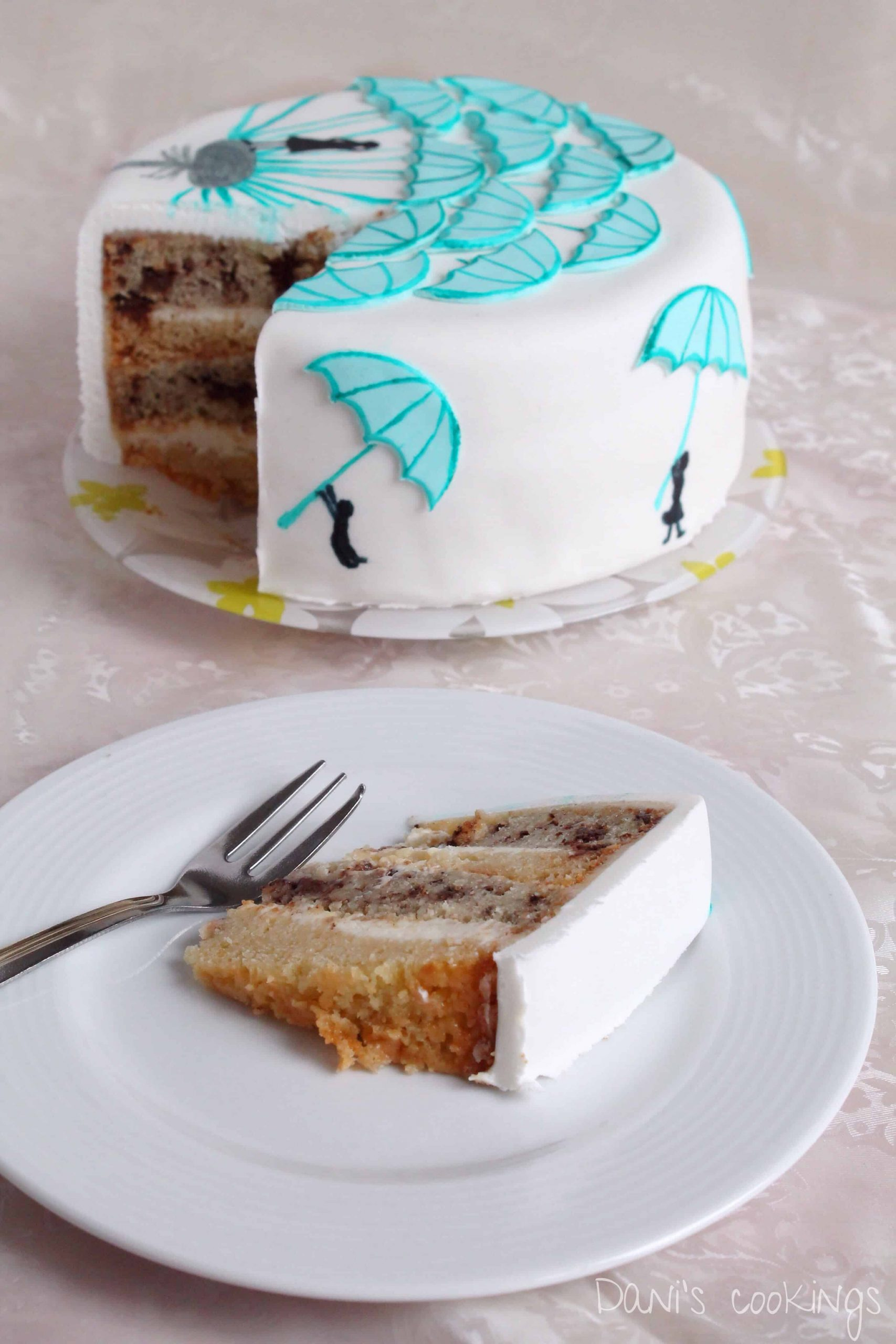 dandelion cake with white and black chocolate - daniscookings.com