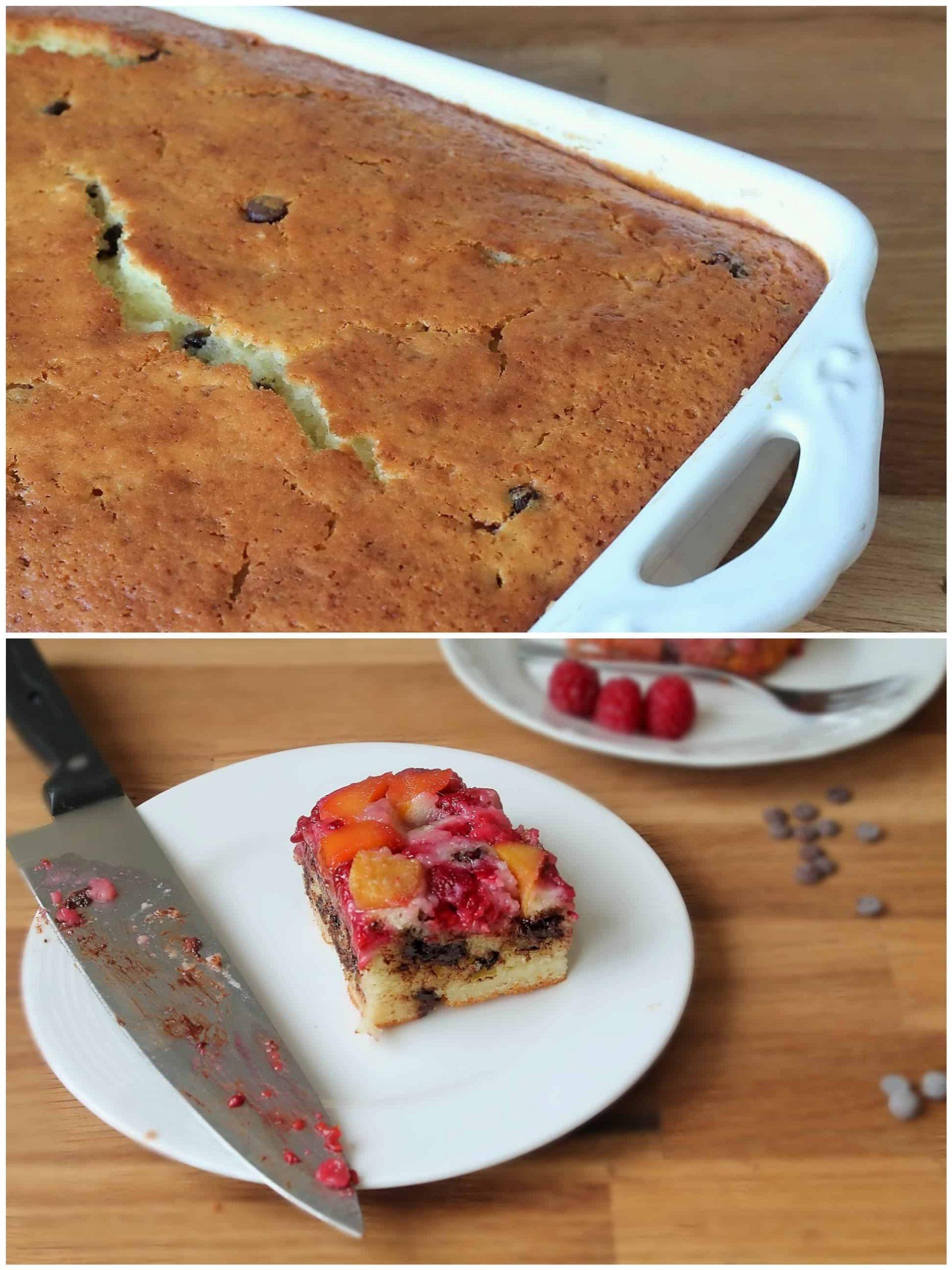 Mango & Raspberry chocolate chip upside down cake - daniscookings.com