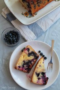 lemon, blueberry cake slices on a plate