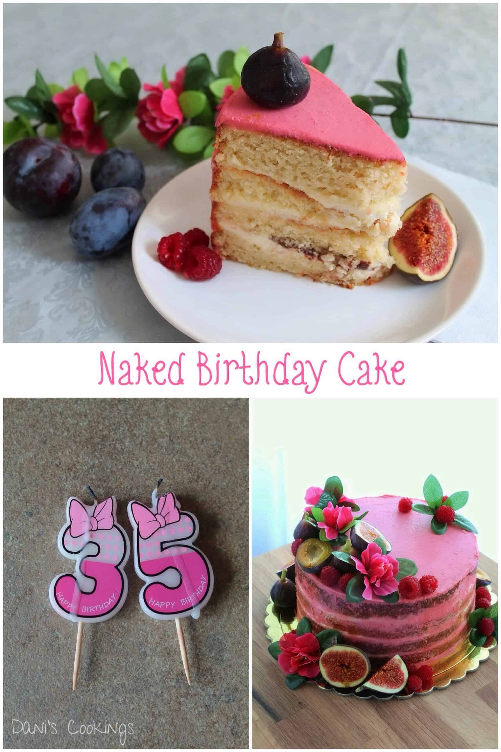 a collage for naked birthday cake