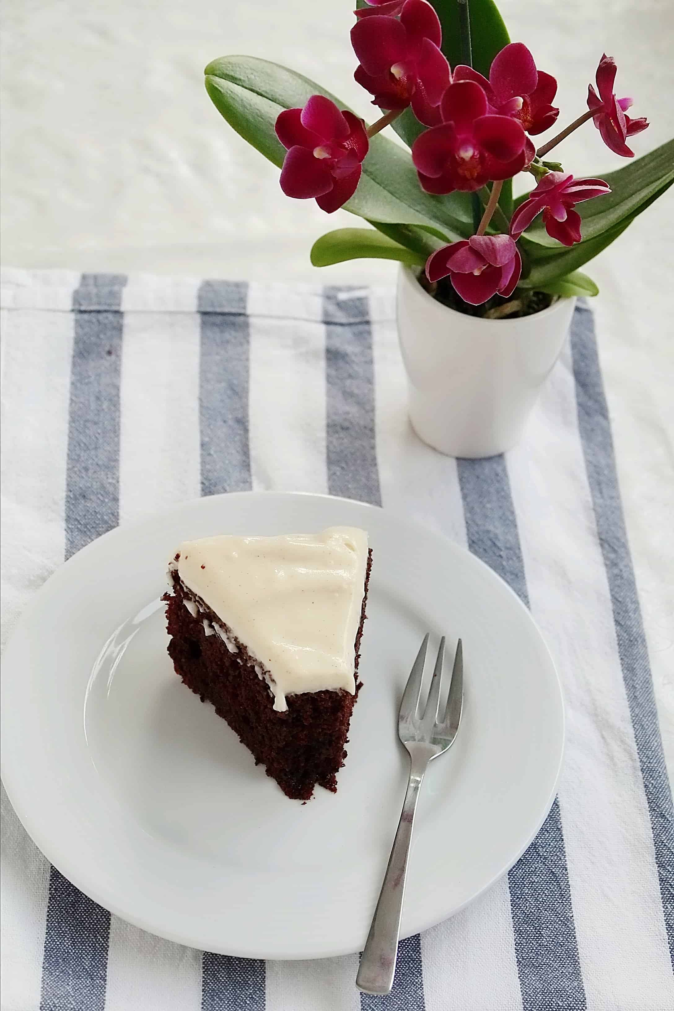 a slice of double chocolate cake on a plate
