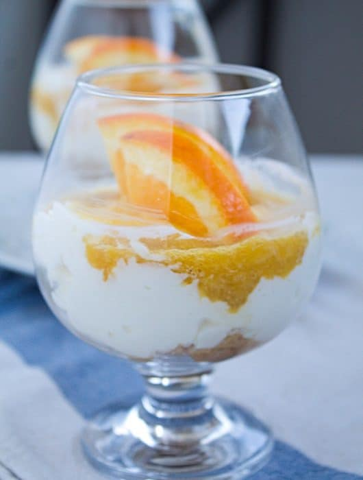 Delicious, light and easy orange cheesecake in a glass