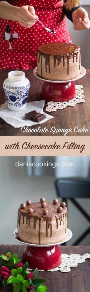 Scrumptious Chocolate Sponge Cake with Cheesecake filling | Dani's Cookings