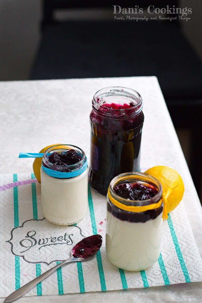Easy Honey Lemon Panna Cotta with Blueberry Jam | Dani's Cookings