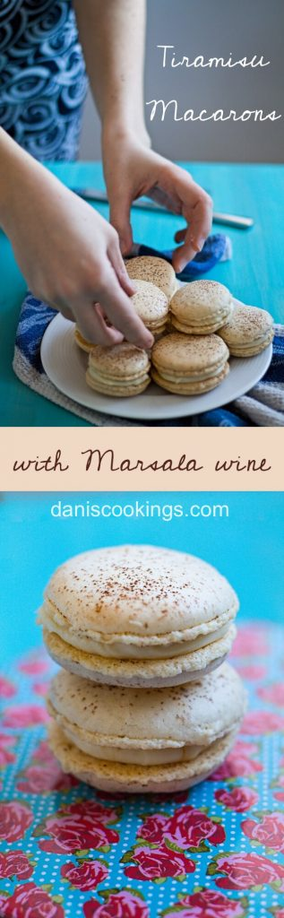 These Tiramisu macarons with Marsala filling are incredibly delicious and not too difficult to make. Find the recipe at Dani's Cookings blog!
