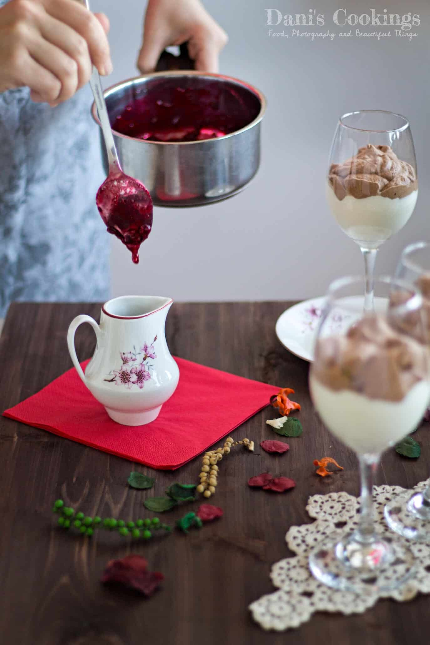 This easy and delicious Double Chocolate Mousse with Raspberry sauce is made with only 5 ingredients! Find the recipe at daniscookings.com