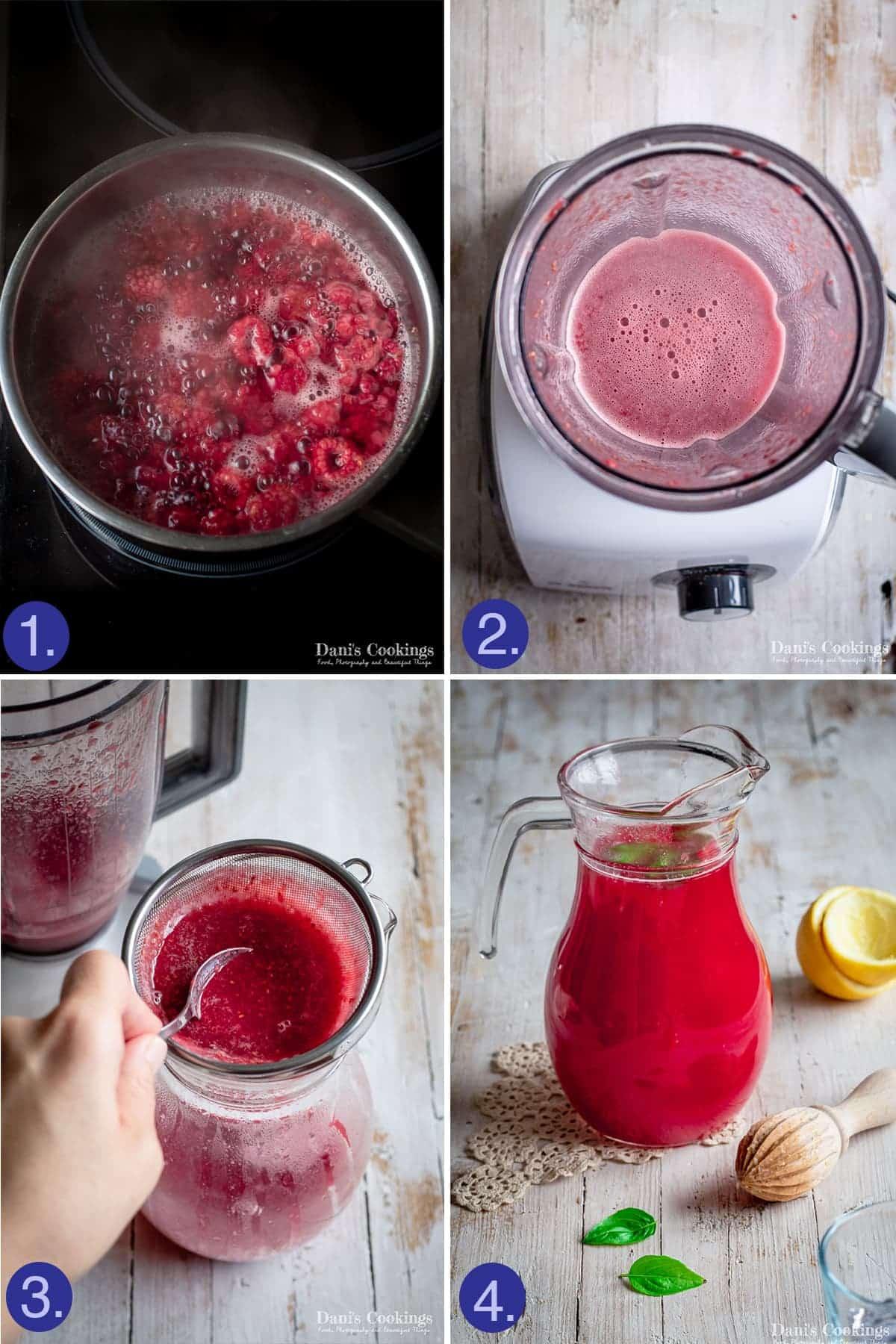 steps to make the raspberry lemonade