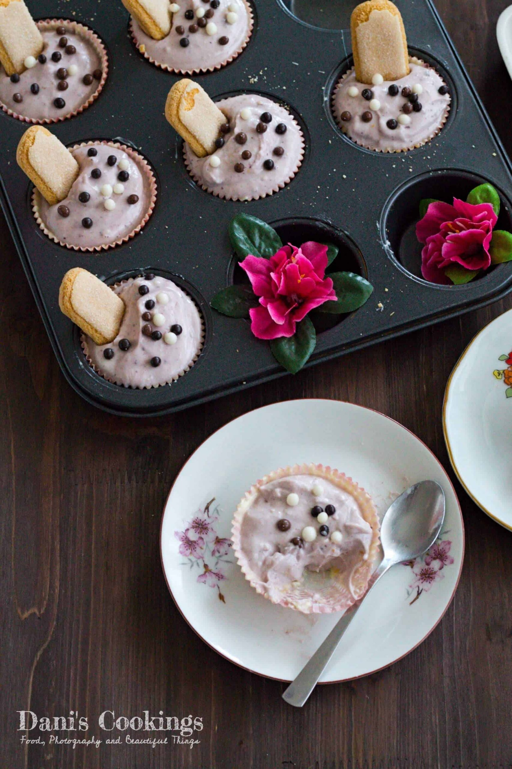 Very easy and heavenly delicious Cheesecake Filled White Chocolate Cups with blueberry jam   Dani's Cookings