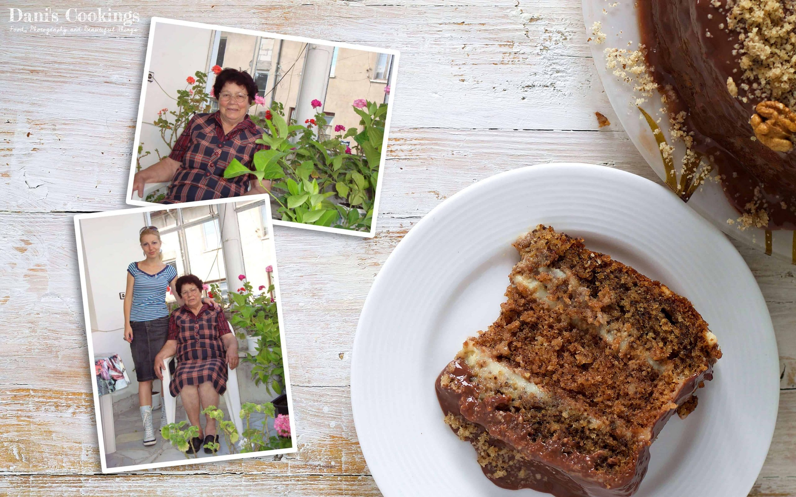a piece of walnut cake and pictures of Daniela and her grandmother
