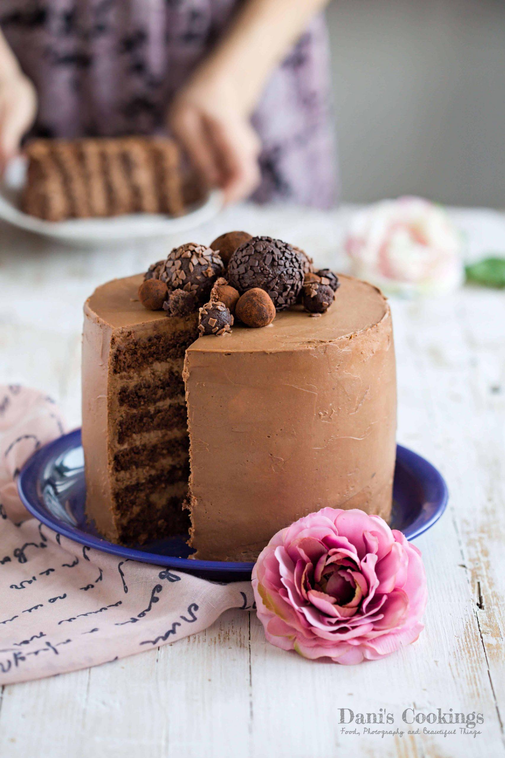 Dreamy Chocolate Layer Cake with Chocolate Truffles | Dani's Cookings