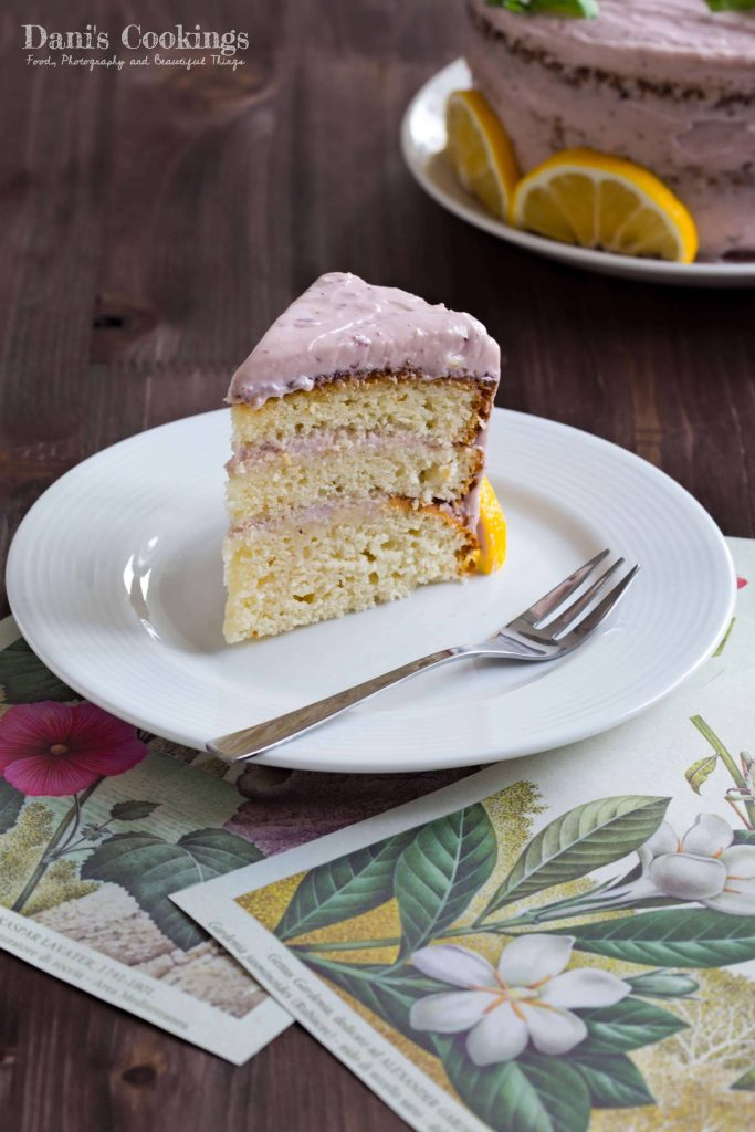 Lemon Cake with Blueberry Marmalade Cream Cheese Frosting | Dani's Cookings