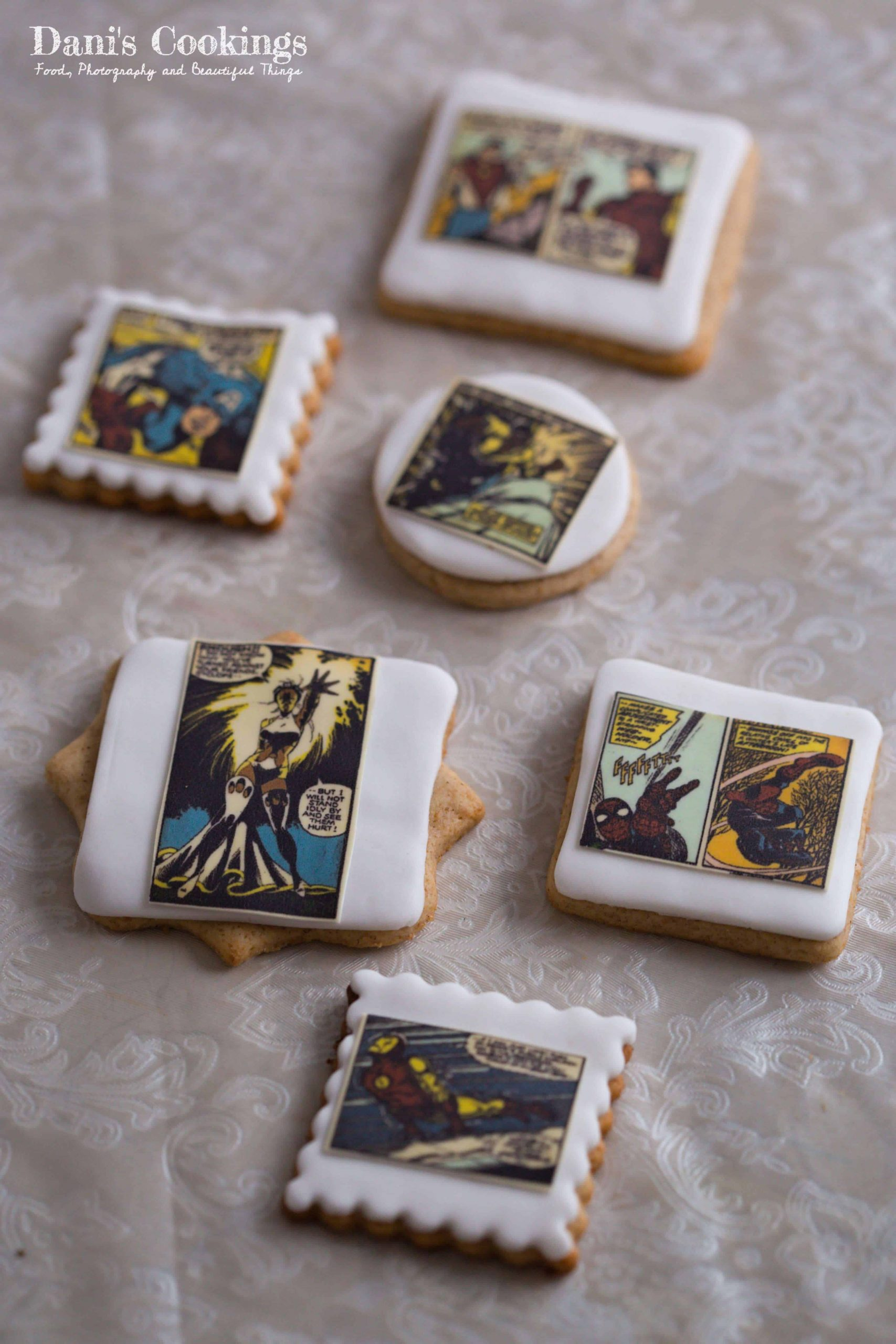 Healthy Coconut Date Cake and gingerbread cookies with Spiderman Decoration made of fondant and edible prints | Dani's Cookings