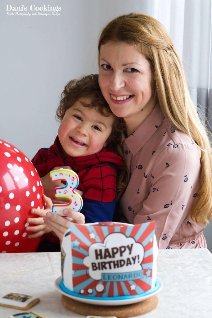 Healthy Coconut Date Cake with Spiderman Decoration made of fondant and edible prints | Dani's Cookings
