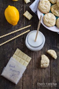 Soft Lemon White Chocolate Cookies | Dani's Cookings