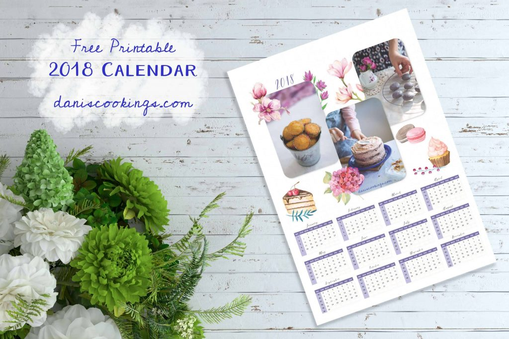 Printable Calendar 2018 | Dani's Cookings