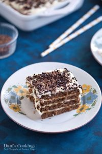 No Bake Cookie Cake with Lemon Mousse - delicious cocoa biscuits covered with flavourful lemon frosting - find the recipe at daniscookings.com