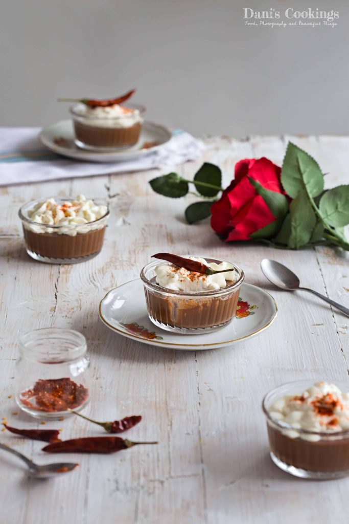 Spicy Chocolate Mousse with Sour Cream Garnish topped with hot pepper| Delicious and decadent dessert in a glass | Dani's Cookings