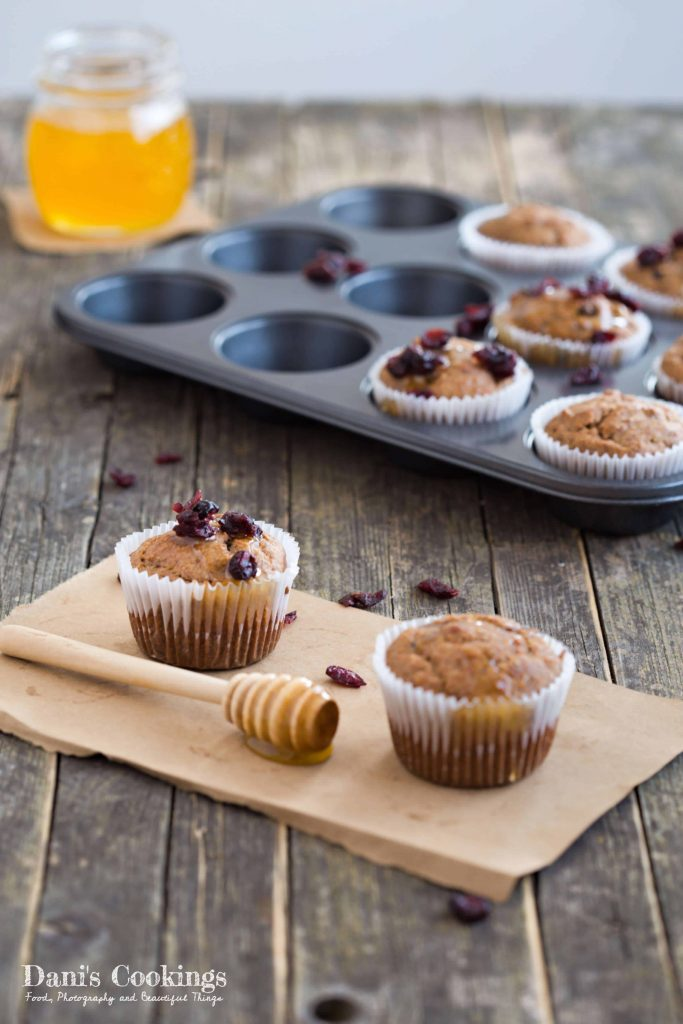 Sugar Free Banana Cranberry Muffins | Dani's Cookings