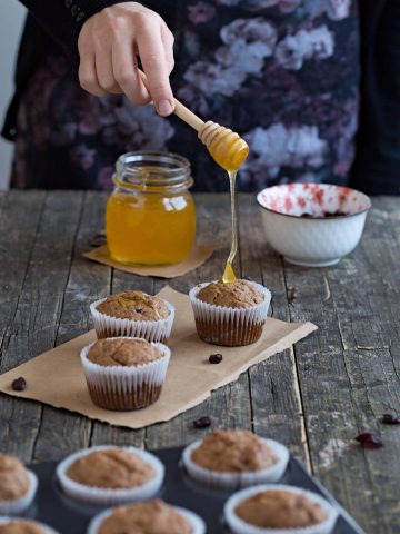 Sugar Free Banana Cranberry Muffins | Dani's Cookings