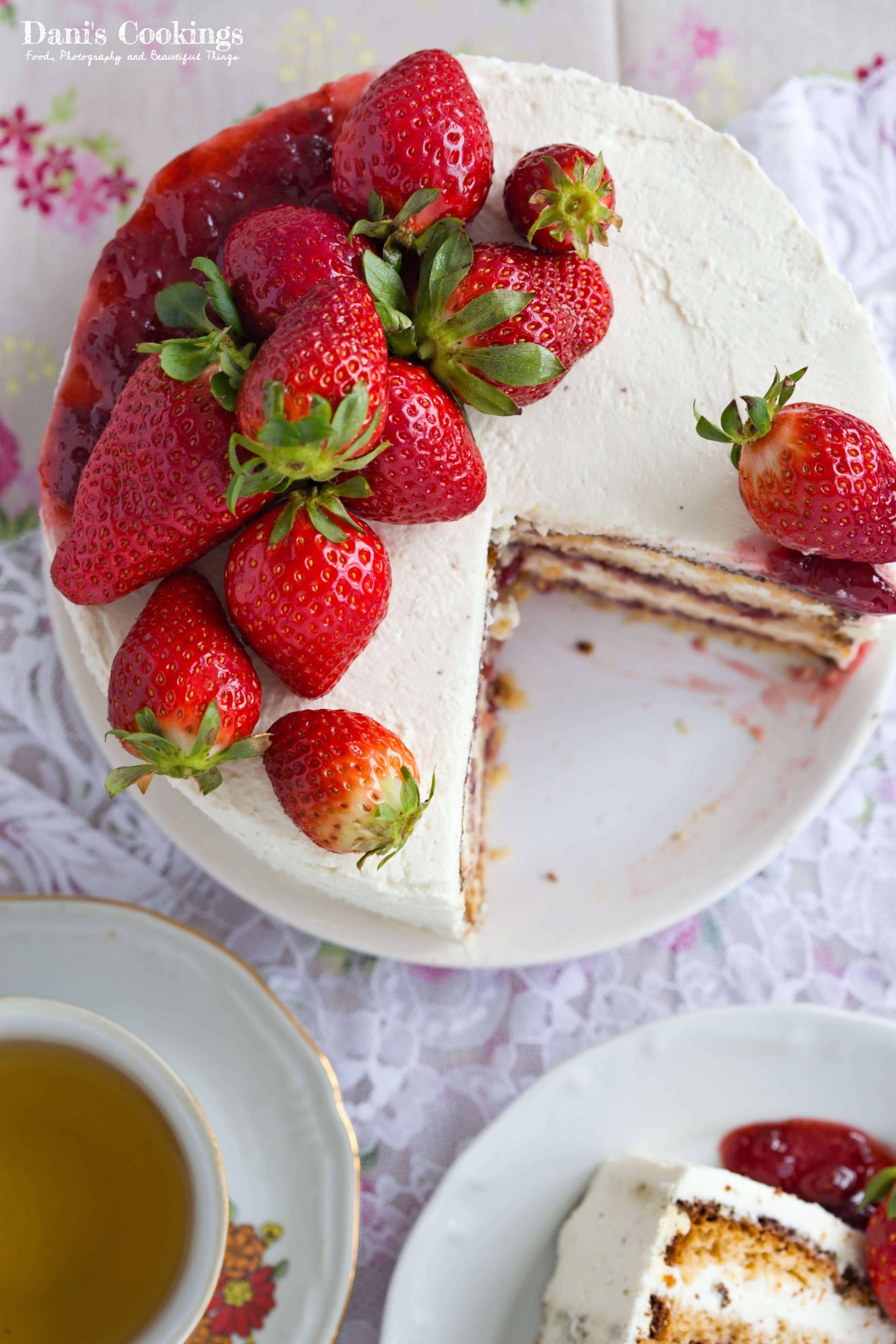 a flat lay of strawberry cake