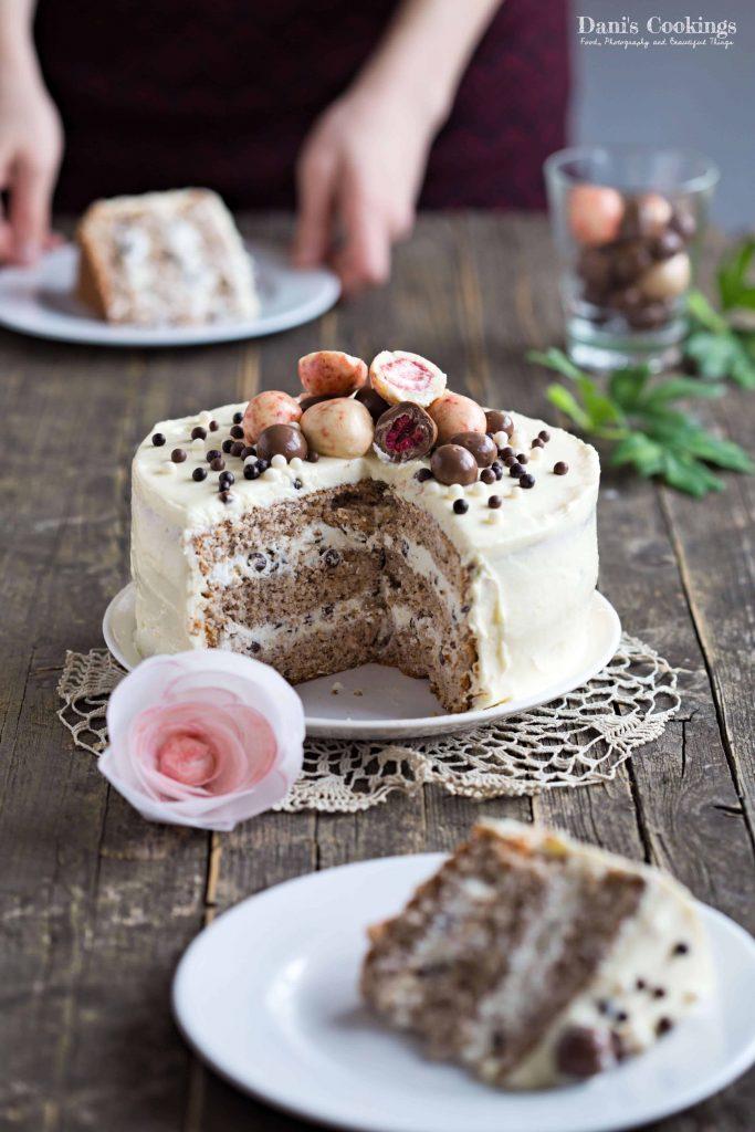 Walnut Sponge Cake With Chocolate Chips Frosting Dani S