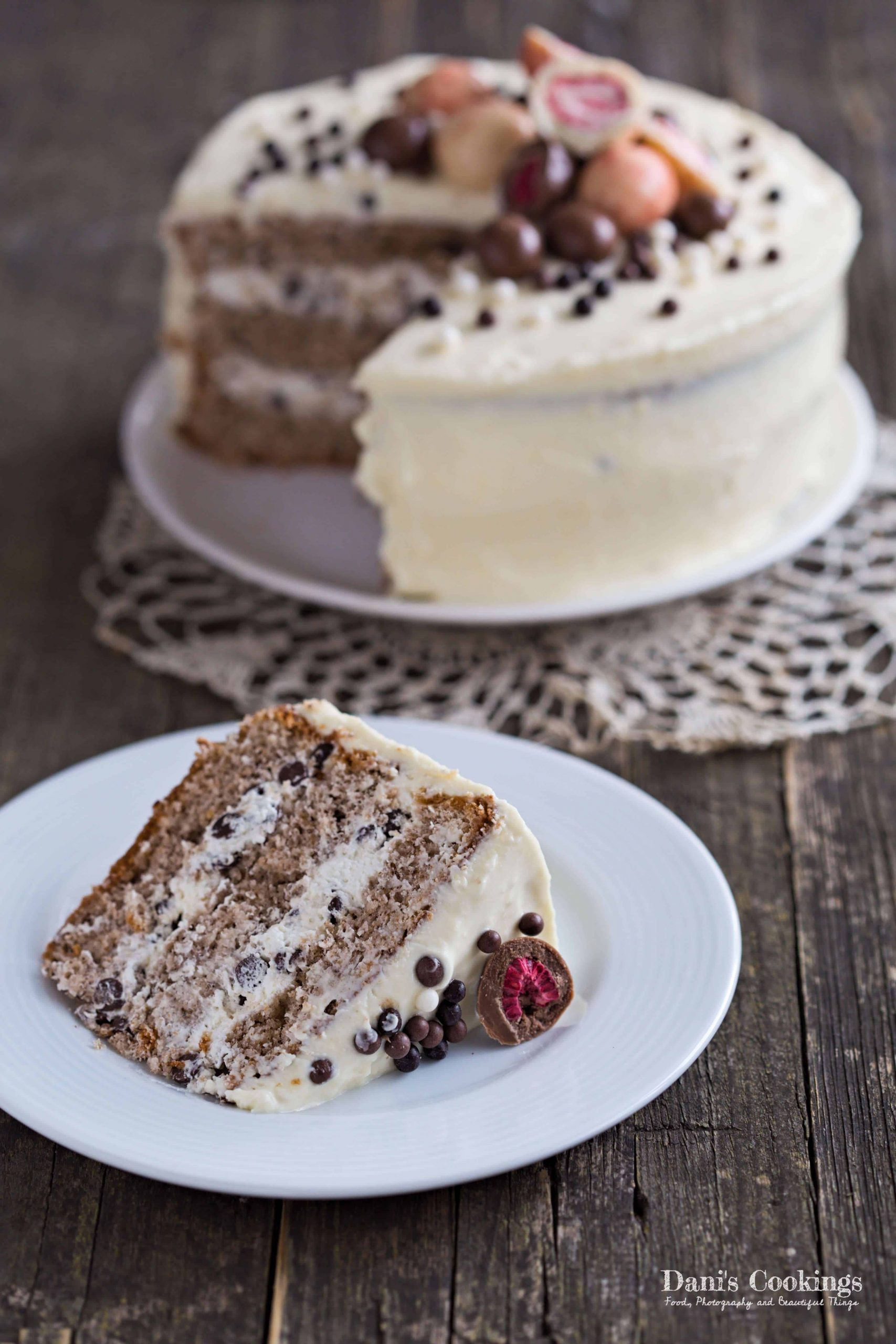 Walnut Sponge cake with Chocolate Chips Frosting | Dani's Cookings