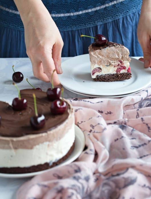 Easy Black Forest No Churn Ice Cream Cake made from scratch, and completely homemade. Find the recipe at Dani's Cookings blog