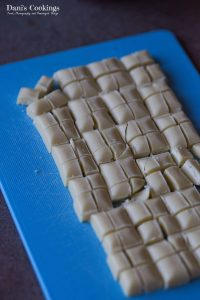 Chocolate cut in small pieces for the Soft Apricot White Chocolate Cookies