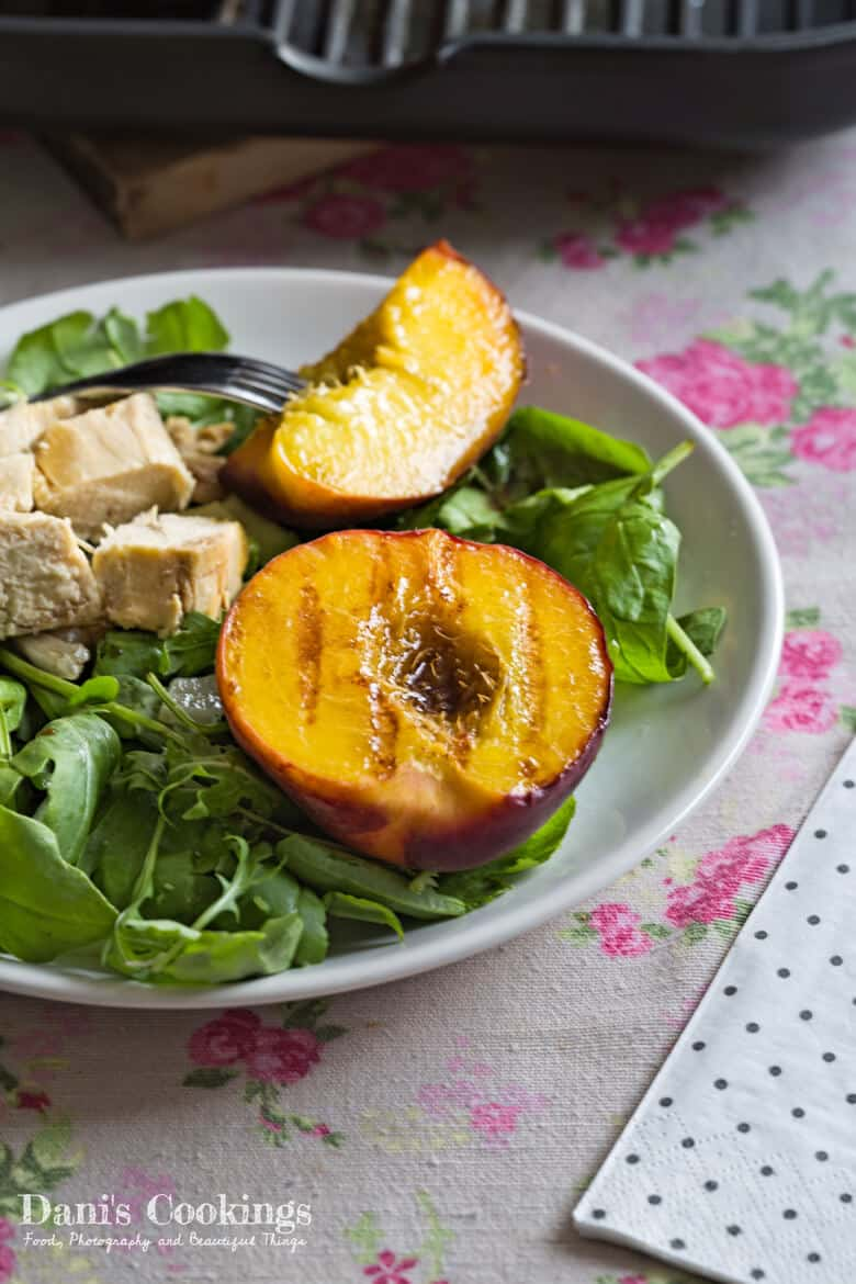 Grilled Peach Salad with Chicken and Avocado