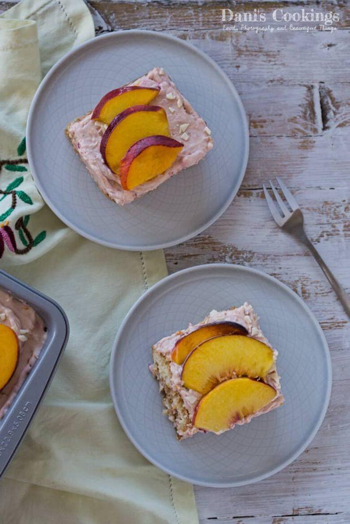 Peach Raspberry Tiramisu two slices on plates
