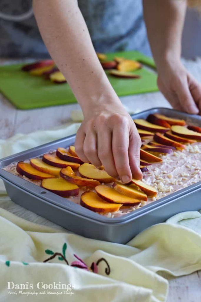 Peach Raspberry Tiramisu in preparation