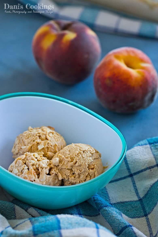 Caramel Peach No Churn Ice Cream