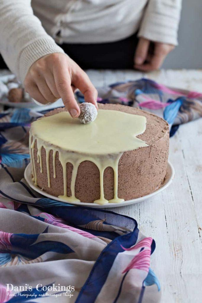 Coconut Chocolate Layer Cake in progress