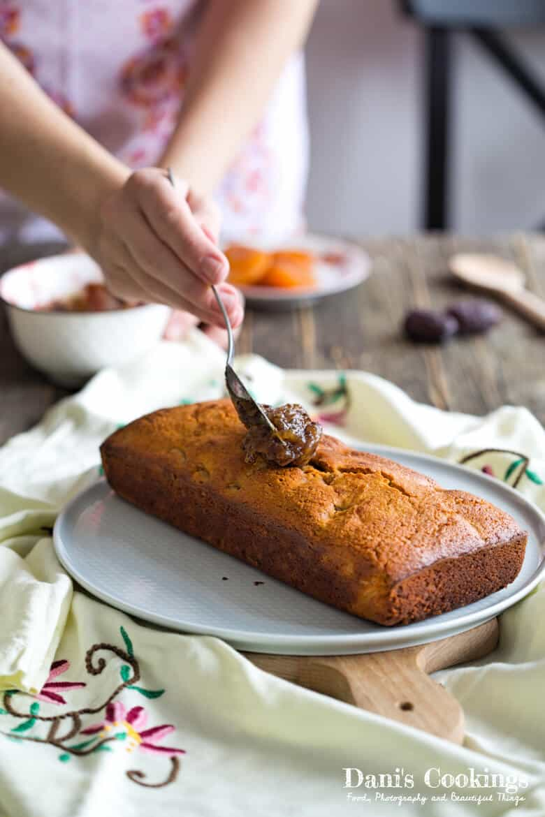Loaf Cake with Dried Apricots and Date Frosting