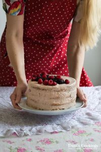 Tender Vanilla Cake with Chocolate Frosting and Berries