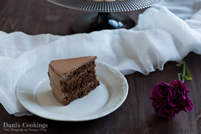 A piece of The best Vegan Chocolate Cake on a plate