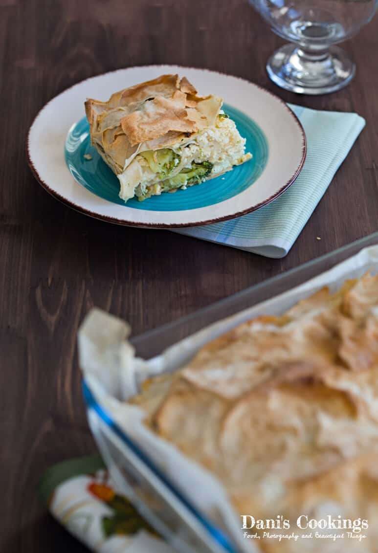 Broccoli Filo Pie served on a table