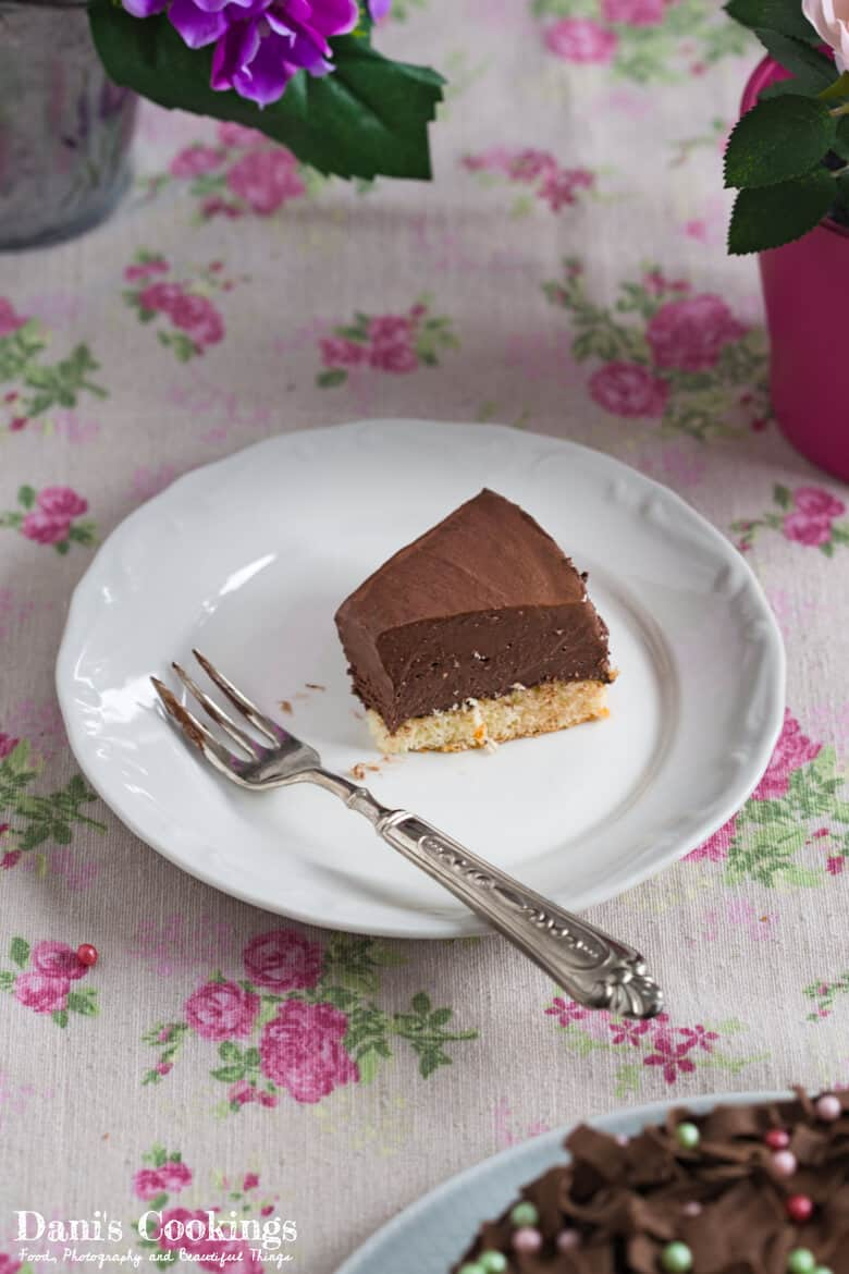a slice of chocolate cake on a plate, half eaten