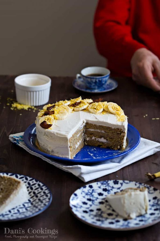 Banana Cake with Coconut Frosting - Healthy & Vegan