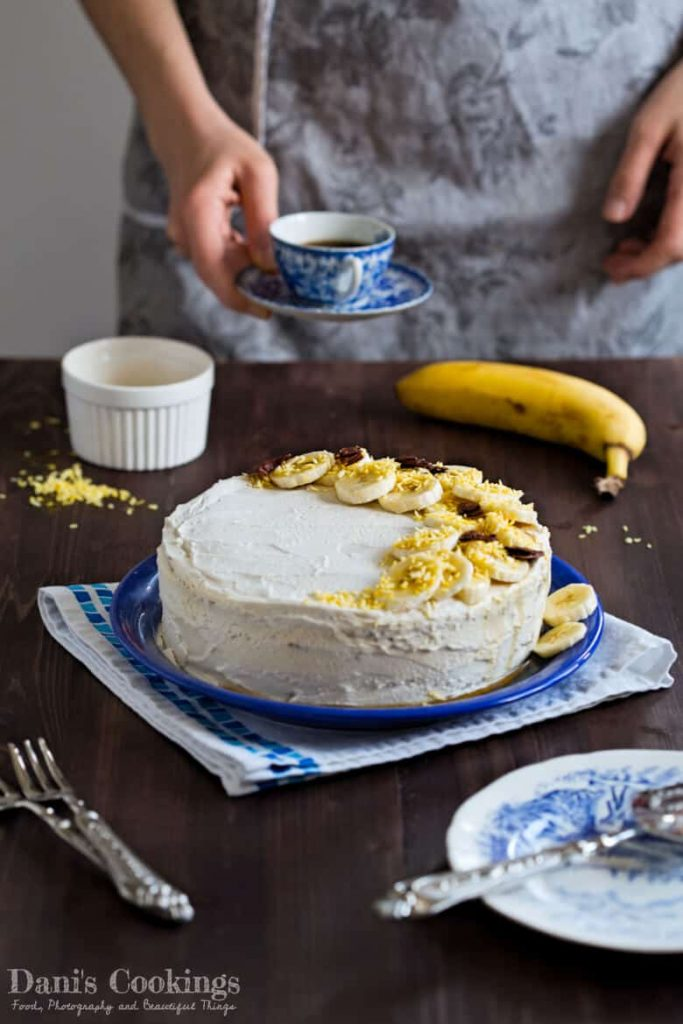 Delicious Banana Cake with Coconut Frosting - healthy and vegan