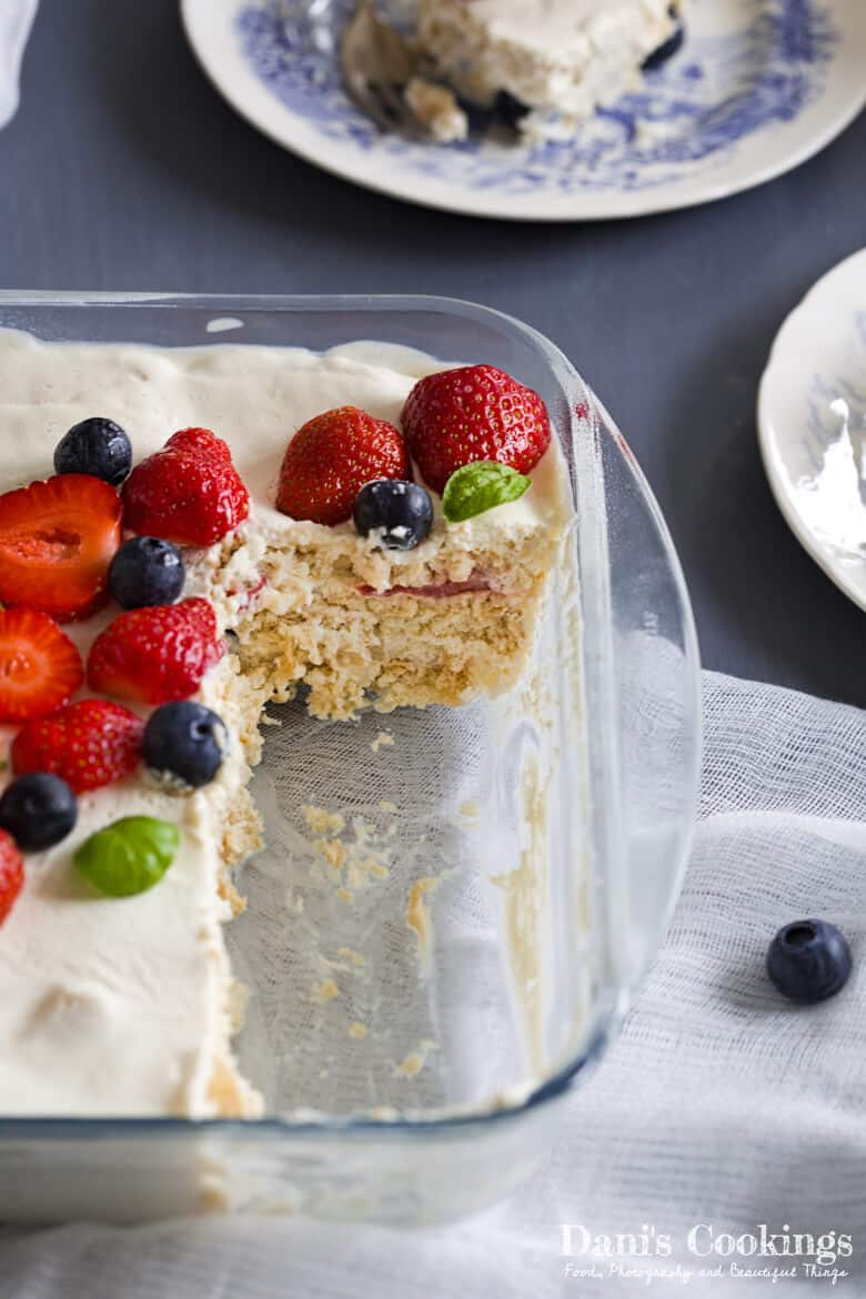 icebox cake in a pan with slices taken from it