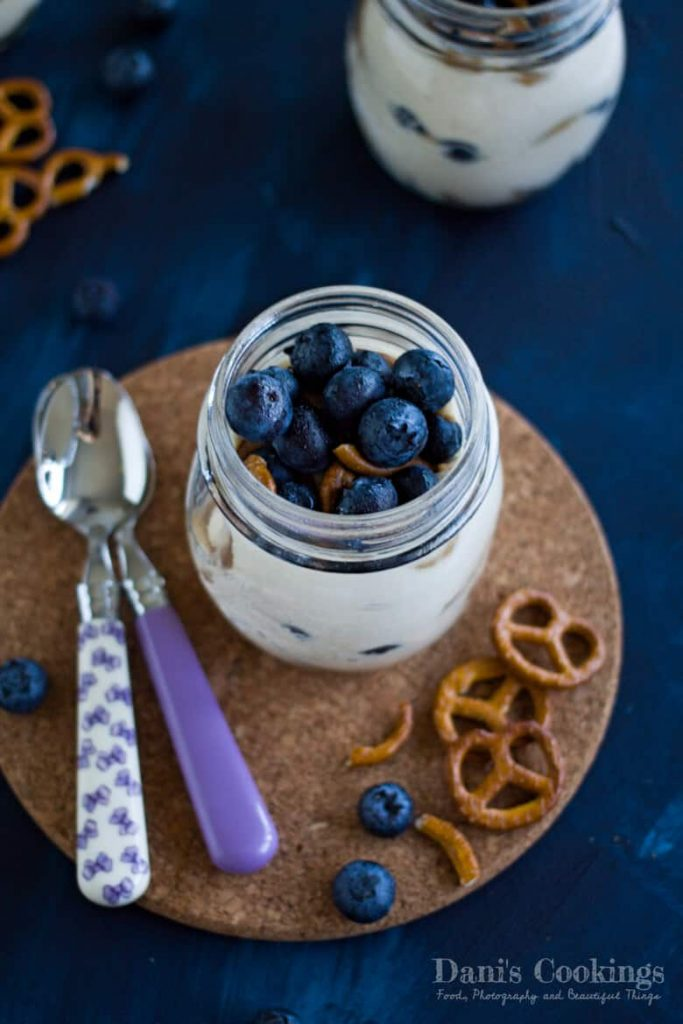 Peanut Butter Yogurt Parfait with Mini Pretzels