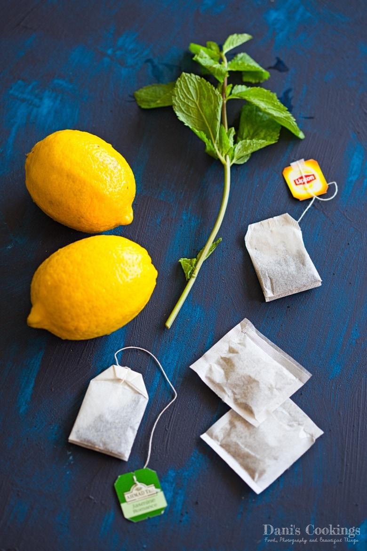 tea bags, lemons and mint